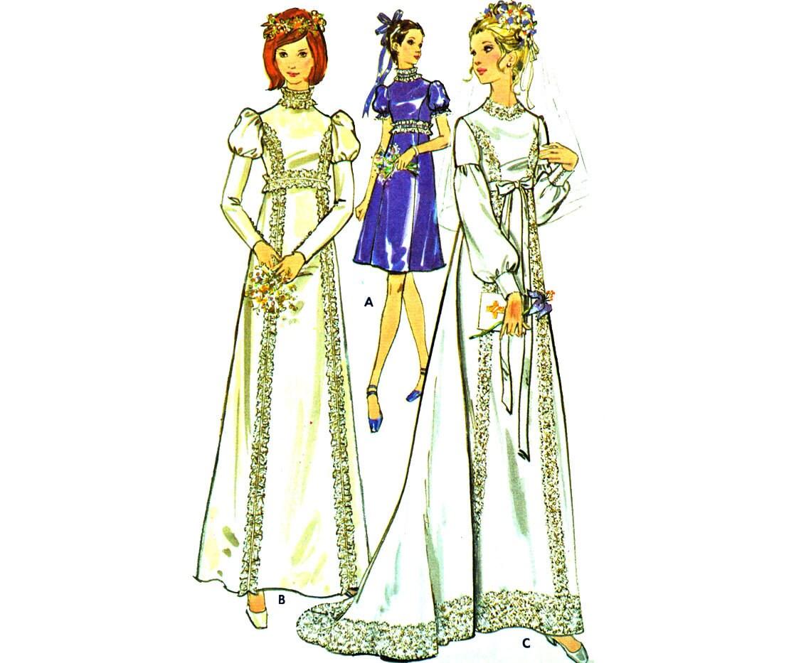 70s wedding dress pattern vintage empire waist by for Empire waist wedding dress patterns