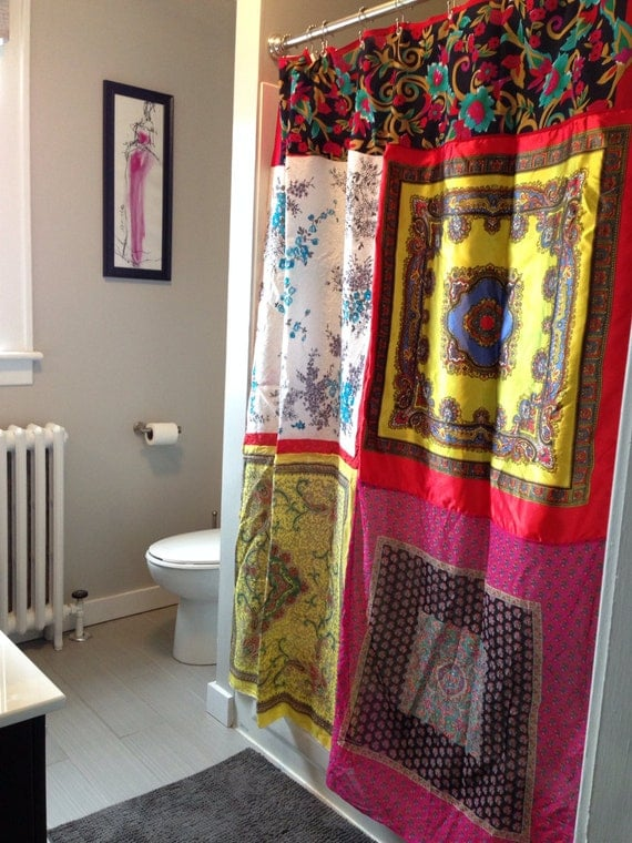 Bright And Bold Upcycled Silk Scarf Shower Stall Curtain Boho