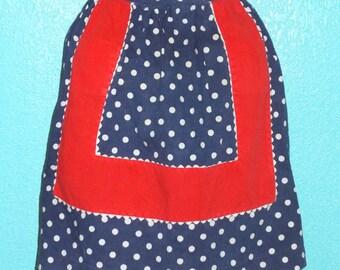 Cute Vintage 1950s Navy Polka-Dot Half Apron