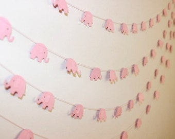Paper Garland, Baby Pink Elephants. Baby Shower - 1st Birthday - Baby Nursery - Baby Bedroom - Child's Bedroom - Wall Decor.