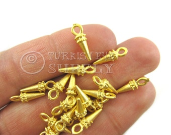 20 pc Mini Gold Spike Charms, 22k Gold  Plated Brass Charms, Turkish Findings, Turkish Jewelry