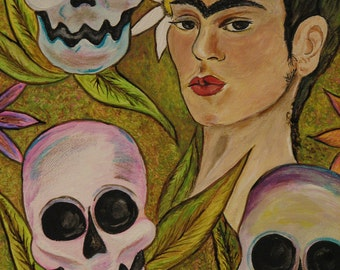 Dia de los Muertos Frida with sugar skulls print from original painting by artist Dona Silver.  Day of the dead wall decor.  Home decor