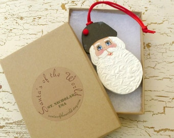 American Kris Kringle Santa Claus Ornament Handcrafted Painted Christmas Collectable for Holiday Decoration