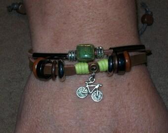 Handmade Women's Brown Leather Bike Charm Bracelet