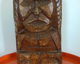 Two Faced Tiki Statue, 36cm tall, 21cm wide
