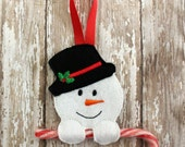 Embroider Snowman Candy Cane Felt Ornament