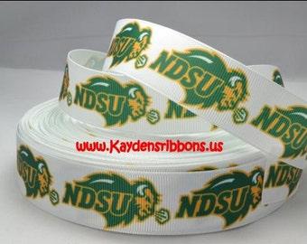 3 yards NDSU North Dakota State University  - 1 inch  - Printed Grosgrain Ribbon