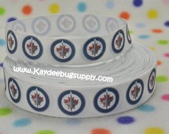 3 yards Winnipeg Jets - 7/8 inch  - Printed Grosgrain Ribbon