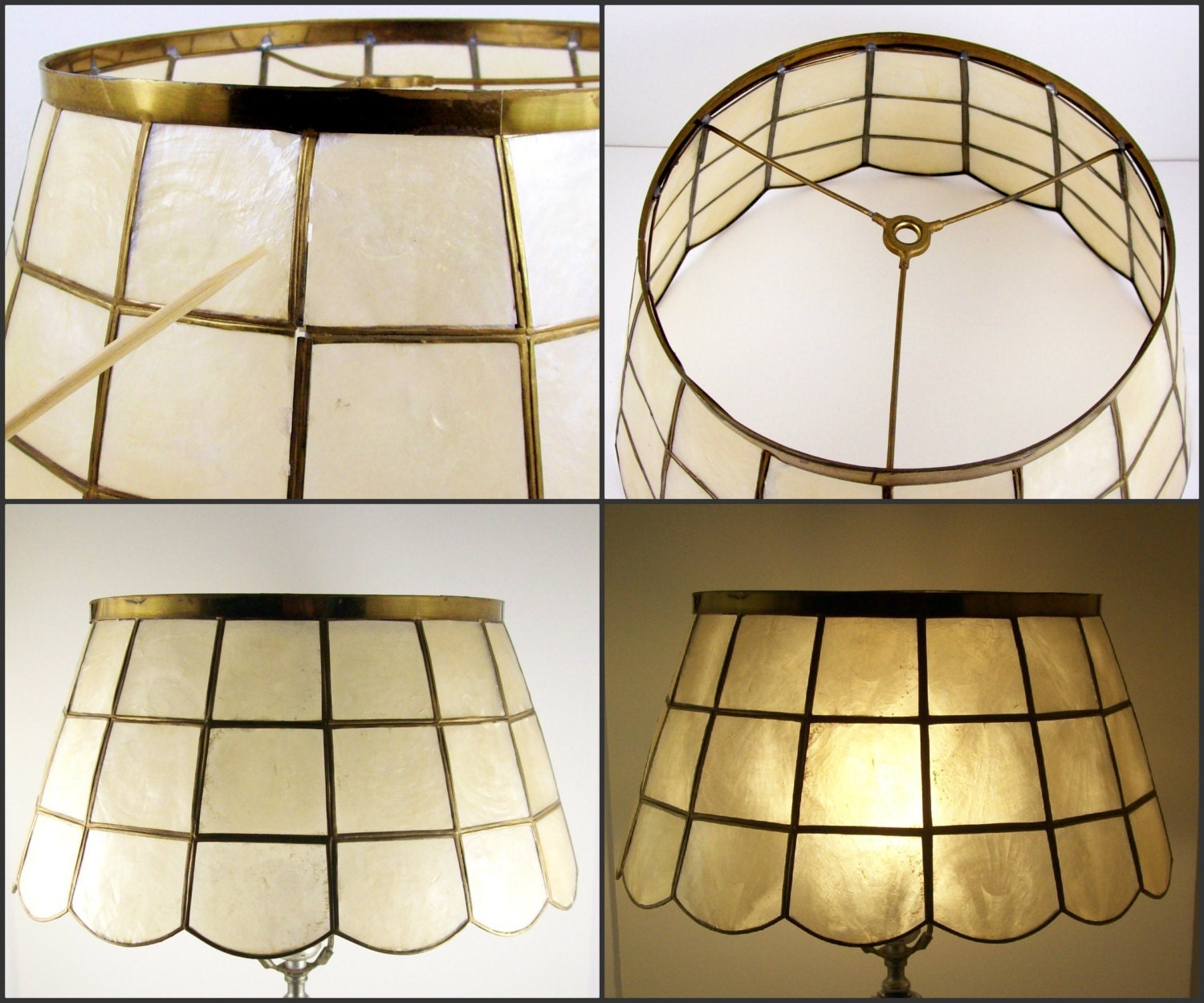 vintage lamp shade brass metal mother of pearl shell window. Black Bedroom Furniture Sets. Home Design Ideas