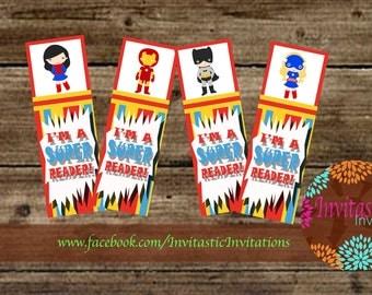 Superhero Bookmarks -Classroom Decoration - Teacher supplies - printable classroom decorations