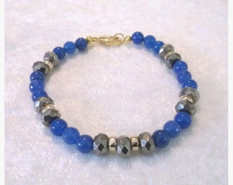 Blue Agate-Pyrite-Gold 7 inch Bracelet   One of a Kind