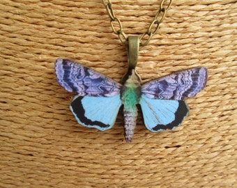 Wooden Butterfly Charm Necklace with Antique Bronze Chain