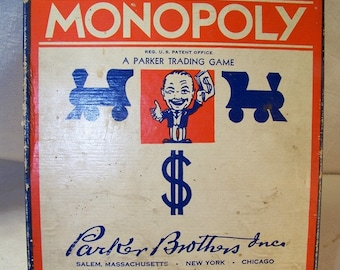 Monopoly Game with Board Vintage 1941-46