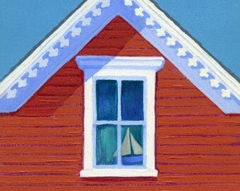 """Block Island coastal cottage - seaside art print, Victorian gable, red, white & blue, toy boat, """"Red Bungalow"""""""