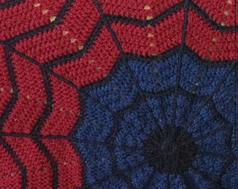 PATTERN only - Spiderman inspired round ripple crochet blanket