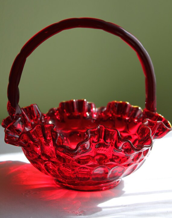 Fenton Crystal Ruby Red Basket.  Dark Red Crystal Basket.  Basket with Ruffled and Scalloped Rim.
