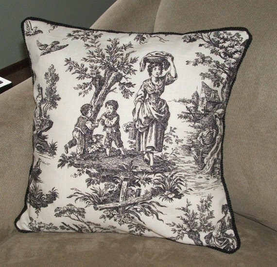 Black and white toile decorative pillow by pearblossomcreations - Toile decorative murale ...