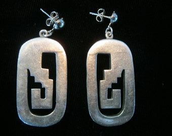 Vintage Taxco Mexico Sterling Earrings Art Deco Design