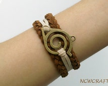 Leaf charm bracelet,brown braided bracelet, friendship bracelet, adorable gift //HMB0083