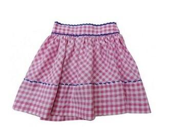 FRENCH vtg handmade  60's gingham SKIRT // Bardot skirt // size 3/4 years old