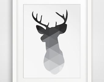 Black Deer Head Print, Deer Antlers Wall Art, Geometric Wall Antlers, Black and White Deer Wall Art, Deer Print, Triangle Geometric Art