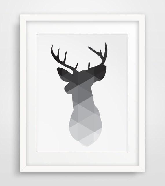 Deer Wall Art black deer head print deer antlers wall art geometric wall