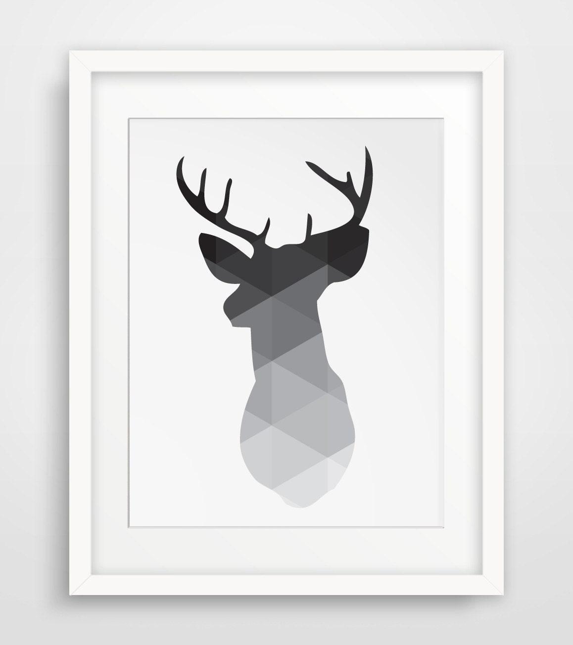 Geometric Purple Deer Wall Art Print Modern Poster Buck: Black Deer Head Print Deer Antlers Wall Art Geometric Wall