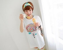 Plane T Shirt Vintage T Shirts for Women Long Tee White Gray Free 302