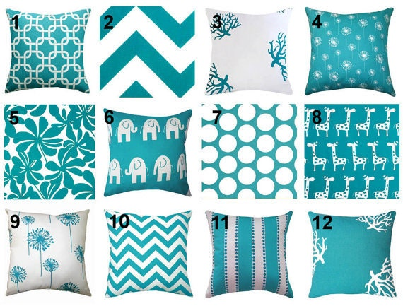 Sale premier prints true turquoise and white by fabricsupplyco - Sofa azul turquesa ...