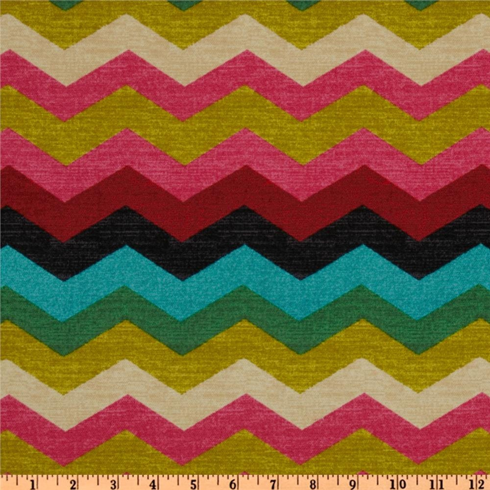 Chevron print fabric by the yard - Waverly Panama Wave Desert Flower Fabric By The Yard Zig Zag 676112 Multi Colored Chevron Print Fabric