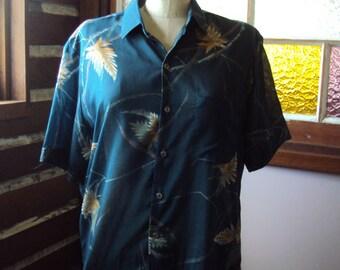 Mens short sleeved Hosma spun polyester voile shirt dark forest green with gold leaf print