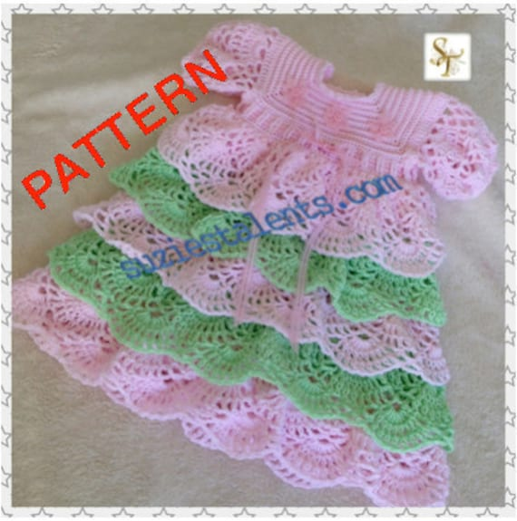 Crochet Ruffled Baby Dress Pattern : SALE PATTERN PT080 Baby Ruffle Dress Crochet baby Layers
