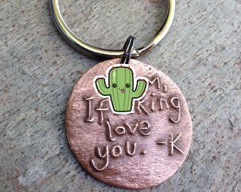 Personalized Keychain I Love You Gift Handwriting Charm Custom Made Your Words Names Dates Jokes