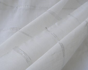 Handwoven cotton voile with silver deco stripes #53349