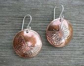 Etched Copper Earrings, butterfly design