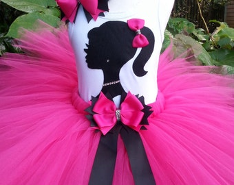 Girls tutu set, silhouette Birthday Tutu, hot Pink tutu set, birthday tutu set, photo shoot, pageant