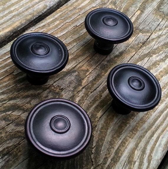 Farmhouse Kitchen Pulls: Black Drawer Knobs Multi Ring Round Decorative Knobs