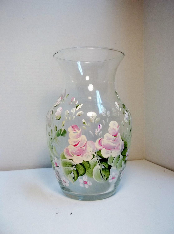 A Vintage Glass Vase Hand Painted Original Design Rosemaling
