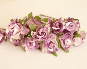 Bridal Hair Accessories, Lavender Rose, Lilac flower Hair Bobby Pin, Brass Bobby pin- set 12