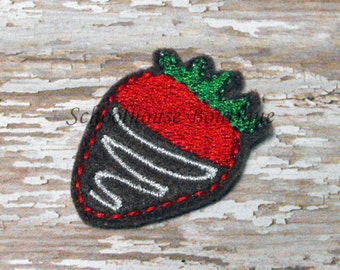 Chocolate Dipped Strawberry felties, feltie, machine embroidered, felt applique, hairbow center, felt embellishment, hair bow supplies