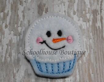 Snowman Cupcake felties, feltie, machine embroidered, felt applique, felt embellishment, hair bow center, felt planner clip. badge reel