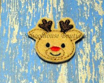 Reindeer with red nose felties,feltie,machine embroidered,felt applique,felt embellishment, hairbow center,scrapbook embellishment