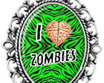 ROCKABILLY I love Zombies Pendant Necklace