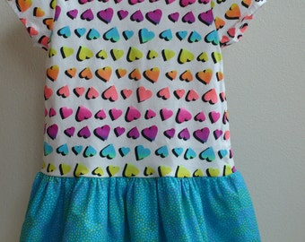 Toddler Girl T-Shirt Dress-Colorful Hearts