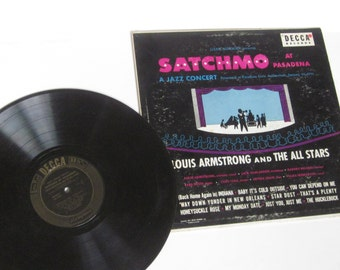 1951 SATCHMO Louis Armstrong and The All Stars at Pasadena- Classic Vinyl Record Album Long Play 33 1/3 RPM
