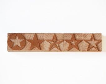 Letterpress Set of Mixed Stars wood - 5 pieces