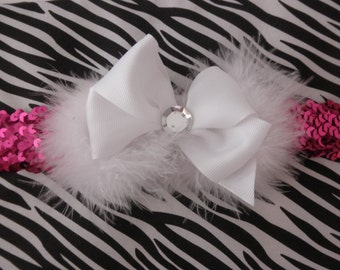 Baby headband pink sequence with white bow and feathers