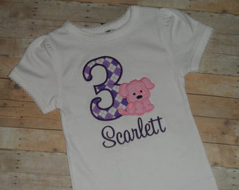 Baby Toddler Girls custom puppy dog applique shirt 12 18 24 2t 3t 4t 5t