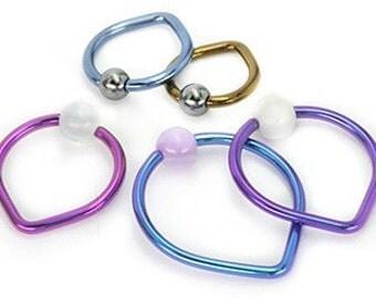 14g - 10g Niobium Tear Drop Captive Bead Ring - Price Per 1 (Custom-603-UB)