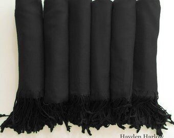 Pashmina shawl in Midnight Black - Bridesmaid Gift, Wedding Favor - Monogrammable